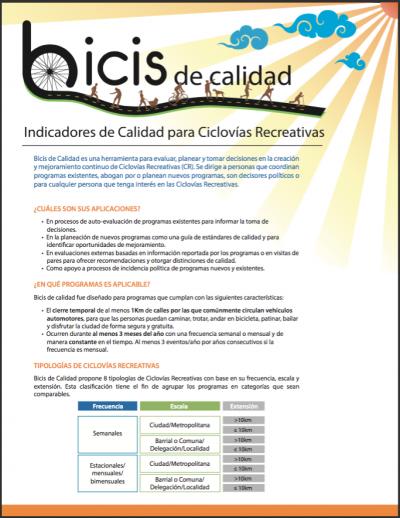 Bicis de calidad: Indicadores de calidad para Ciclovías Recreativas