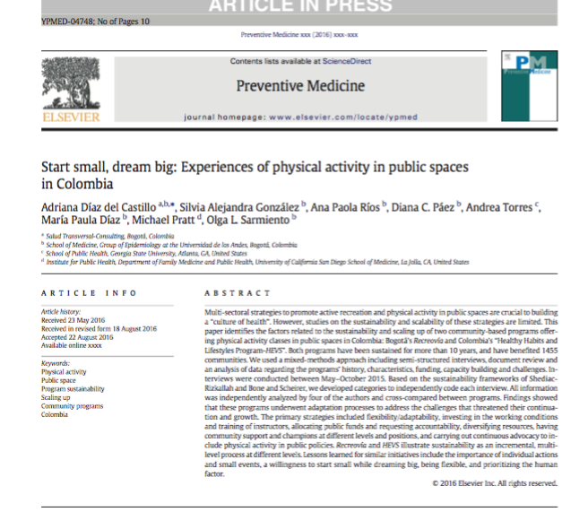 Start small, dream big: Experiences of physical activity in public spaces in Colombia